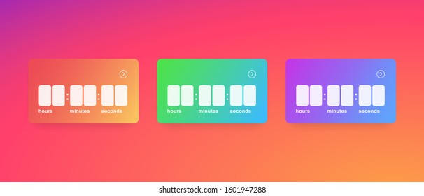 Templates colorful timer. Layouts elements social media countdown. Mockup stories stickers. Social media Instagram concept. Vector illustration. EPS 10