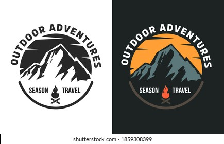 Templates composition of outdoor travel, adventures with mountain for badge, label, logo, patches or emblems in retro vintage style. Design concept for tourism. Vector illustration.