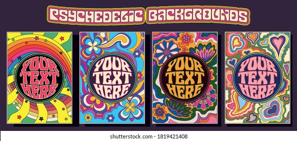 Templates for Covers, Posters, Cards 1960s, 1970s Style, Psychedelic Floral Art Backgrounds