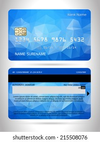 Templates of credit cards design with a polygon background, Isolated vector