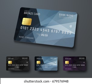 Templates of credit (debit) bank cards with black polygonal abstract design elements. Vector illustration. Multicolored set.