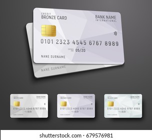 Templates for design of a credit (debit) bank card with a white polygonal abstract background. Vector illustration. Multicolored set.
