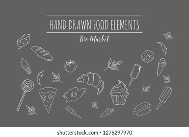Templates for design with hand drawn linear foods. Design for vegan products, brochures, banner, restaurant menu, farmers market and organic food store. Farmers market invitation poster