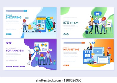 Templates design for online shopping, analytics, digital marketing, teamwork and business strategy. Mobile website development vector illustration concepts. Modern set of web