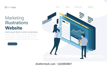 Templates design for online shopping, analytics, digital marketing, teamwork and business strategy. Mobile website development vector illustration concepts. Modern set of web - Vector