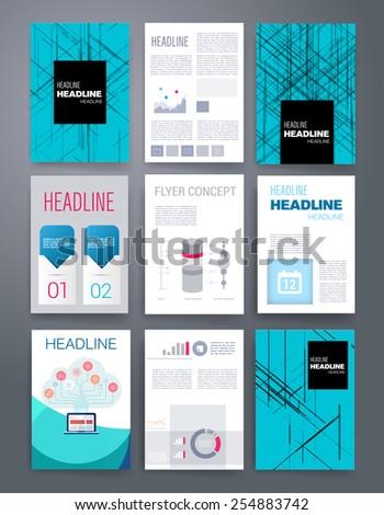 templates design set web mail brochures のベクター画像素材