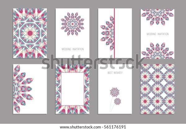 Vorlagen Für Grußkarten Und Visitenkarten Broschüren Stock