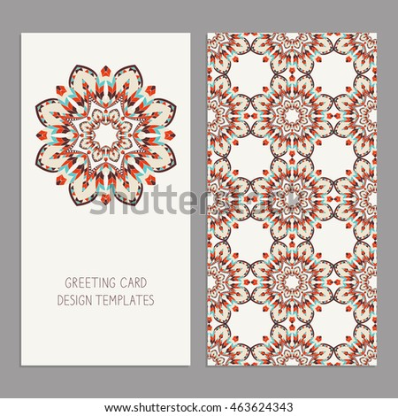 Templates greeting business cards floral motifs stock vector templates for greeting and business cards with floral motifs oriental pattern wedding invitation m4hsunfo