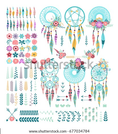 Templates greeting cards scrapbooking floral design stock vector templates for greeting cards and scrapbooking floral design set a set of dream catchers m4hsunfo