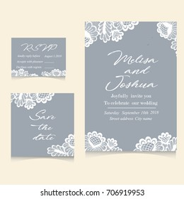 wedding invitation card template text のベクター画像素材