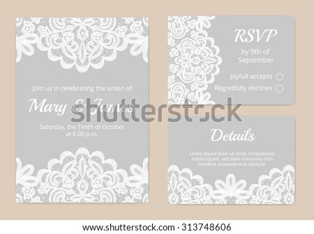 Templates Invitation Lace Cards Wedding Stock Vector (Royalty Free ...
