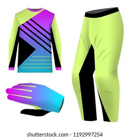 Templates jersey for mountain biking. Jersey for motocross, extreme cycling, downhill. Sublimation print. Sportswear kit design. Design for competition, team wearing. Vector illustration.