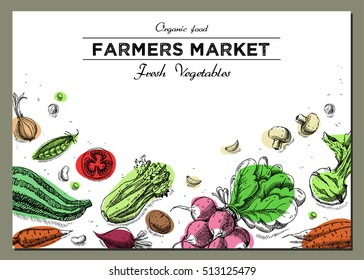Templates for label design with hand drawn linear vegetables. Can be used for vegan products, brochures, banner, restaurant menu, farmers market and organic food store
