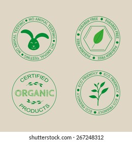 Templates, labels for organic cosmetics and products.