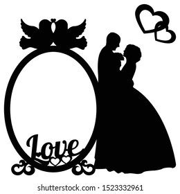 templates for laser cutting with hearts and couples in love