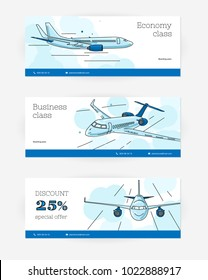 Templates for leaflet with plane illustrations, cover for boarding pass and discount special offer for trip, set of three