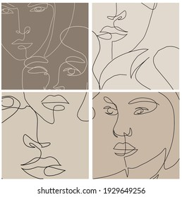Templates linear glamour woman in minimal one line style. Abstract composition for social media stories. Linear female beauty simple face. Continuous line.
