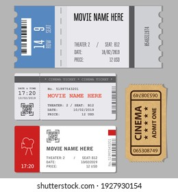 Templates of modern tickets for cinema or concert entrance, vector