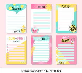 Templates for notes, to do and buy lists.Organizer,planner,schedule for your design.Summer hand drawn blanks with tropical leaves,ice cream and fruits-pineapple,watermelon,lemon.Vector illustration.