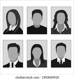 Templates of photos of men and women. Photos on the badge cards and documents. Flat design. Isolated on a white background. Vector illustration.