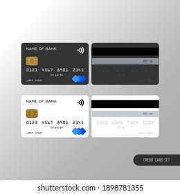 Templates realistic credit card set design. Vector plastic debit card.