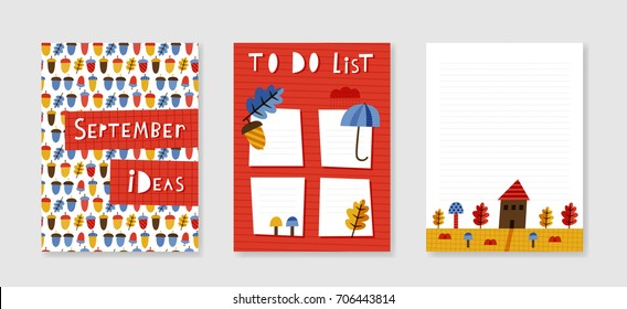 Templates for September planner: doodle vector illustration with autumn theme design. For autumn greeting cards, prints, scrapbook. Print in red, yellow, brown and blue colors. - Shutterstock ID 706443814