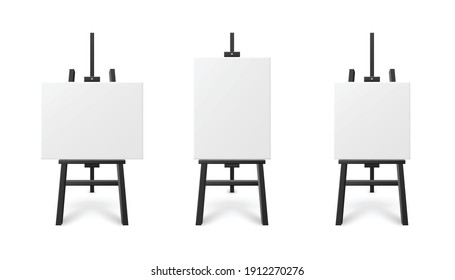 Templates set of blank white artboard on wooden easel, realistic vector illustration isolated on white background. Exhibition or presentation stands mockup.
