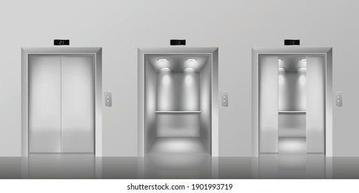 Templates set of elevator with closed, half-open and open doors, realistic vector illustration. Fragment of building wall with elevator doorways and shiny steel doors.