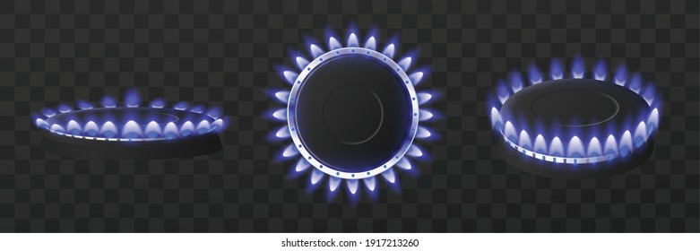 Templates set of kitchen gas cooker burners with burning gas flames in various positions, 3d realistic vector illustration isolated on black background.