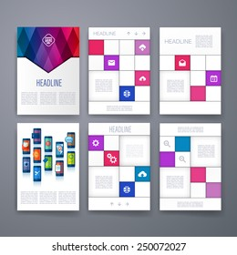 Templates. Set of Web, Mail, Brochure Design Templates. Mobile Technologies, Applications and Infographic Concept. Modern flat design icons for mobile or smartphone