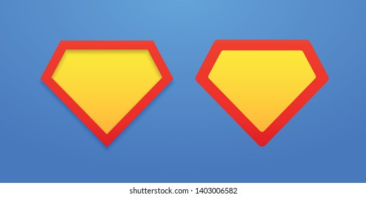 Templates of shields on a bright blue background. Superman shield icon with shadow. Bright, colorful EPS file. Vector illustration. EPS 10
