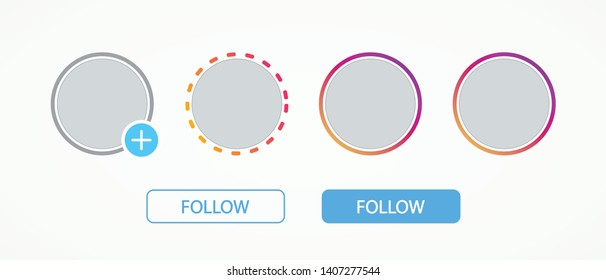 Templates social media elements stories and buttons follow. Mockup frames logo, web, ui, app. Template colorful avatars. Vector illustration. EPS 10