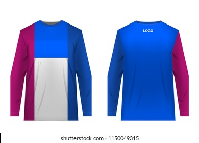 Templates of sportswear designs for sublimation printing. Uniforms for competitions, team games, corporate style, advertising campaigns. Jersey for motocross, mountain biking.