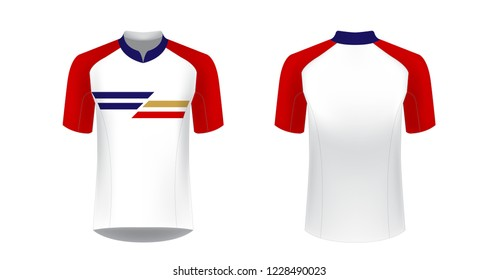 Templates of sportswear designs for sublimation printing. Uniform blank for triathlon, cycling, running competition, marathon and racing games. Vector mockup.