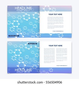 Templates for square brochure. Leaflet cover presentation. Business, science, technology design book layout. Scientific molecule background.