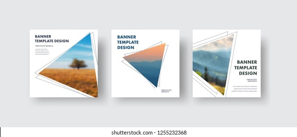 Templates square white web banners standard size with a triangle for the photo. Minimalistic design for social media publications. Set