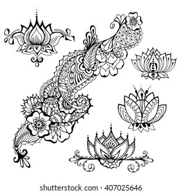 Templates for tattoo design with mehndi elements. Floral ornament. Islam, Arabic, Indian, ottoman motifs. Black and white vector illustration.