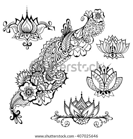 templates tattoo design mehndi elements floral stock vector royalty