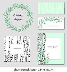 Templates for text, corporate identity with a delicate contour pattern. Birch trees with green leaves for modern design of business cards, advertising, posters, advertising.
