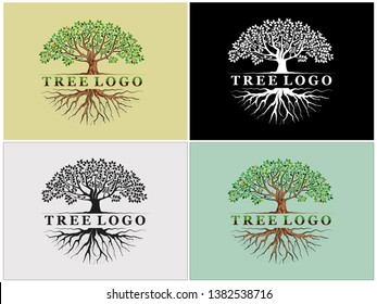 templates of  tree logo and roots, tree of life design illustration