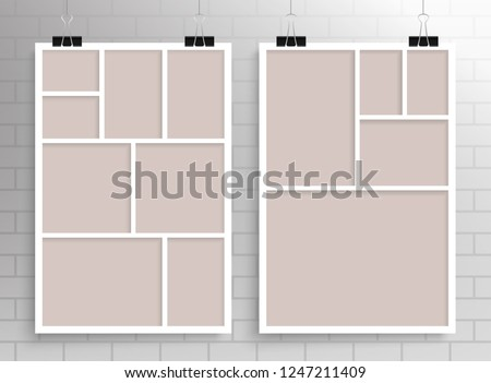 Templates Two Collages Frames Eight Five Stock Vector Royalty Free