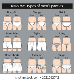 Templates: types of men's panties. mockup.