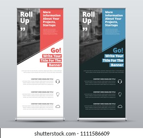 Templates of vector white and black roll-up banners with diagonal colored elements and a place for photos. Red and blue design for business, advertising and printing with blue and yellow elements. Set
