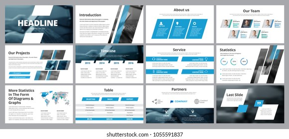 Templates of vector white-blue slides for presentation and reports. Design with diagonal lines, elements of infographics and statistics, with a place for photos.