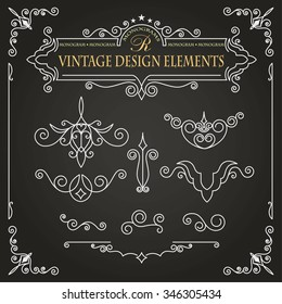 Templates vintage elements on a black background. Monogram and exclusive calligraphic design elements for page decoration, construction of other forms of mono- or logos.