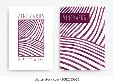 Templates with wine designs. Drawing of rows of vineyards with wine stains. Brochures, posters, invitation cards, promotional banners, menus, book covers. Vector illustration