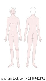 Templates of woman's figure.  Front and back views. Medical template. Vector illustration.