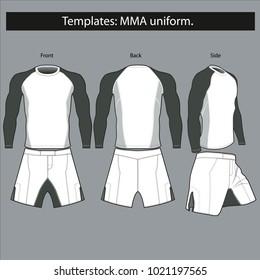 Templates:uniform for MMA fighting. mockup.