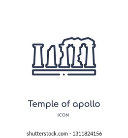 temple of apollo icon from monuments outline collection. Thin line temple of apollo icon isolated on white background.