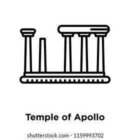 Temple of Apollo icon vector isolated on white background, Temple of Apollo transparent sign , line or linear sign, element design in outline style